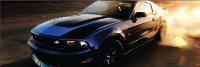 Mustang with blue hood decals